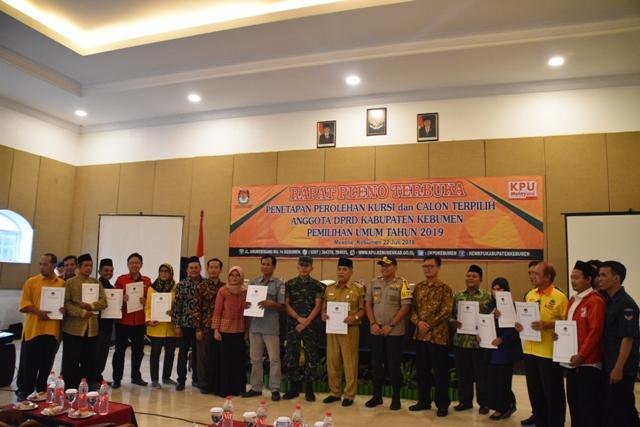 Rapat Pleno Terbuka Penetapan Perolehan Kursi dan Calon Terpilih Anggota DPRD Kabupaten Kebumen Pemilu 2019